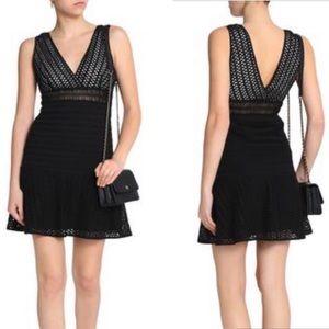 Sandro Paris Open Knit Cocktail Dress Black BB6